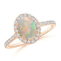 Angara Floating Cabochon Opal and Diamond Halo Antique Style Ring pa7WI