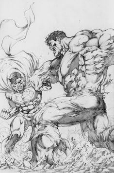 Hulk Superman Battle Part one of 4 , in Jamo's Art's Jose Luis Comic Art Gallery Room Arte Dc Comics, Dc Comics Art, Hulk Artwork, Arte Dark Souls, Superhero Coloring, Univers Dc, Superman Comic, Marvel Drawings, Comic Drawing