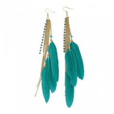 Elegant Blue Duck Feather Dangle Earrings | favwish - Jewelry on ArtFire