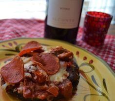 Marinated Portobello Pizzas .... wonderfully healthy  satisfying snack or meal.   No carb, gluten free, and easily adapted to vegan or vegetarian.