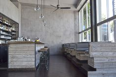Reclaimed wood bar & seating