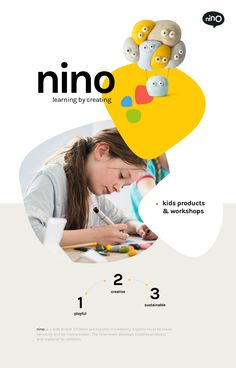 nino is a kids brand. Children are experts in creativity. Experts must be taken seriously and be incorporated . The nino-team develops creative products and material for children. Kids Graphic Design, Graphic Design Brochure, Web Design, Brochure Layout, Graphic Design Posters, Flyer Design, Logo Design, Brochure Template, Layout Design