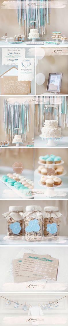 babyshower bleu et blanc décoration DIY vintage