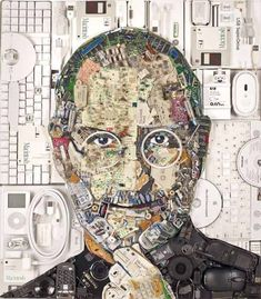 Jason Mecier, a San Francisco based artist, has just unveiled this new portrait of Steve Jobs, composed entirely out of electronic waste. 20lbs of e-waste were used to creates this portrait, mainly cell phones, iPods, headphones, Mac keyboards, CD-Rs, batteries, mice, and memory sticks. Have you also seen this other Steve Jobs portrait made from …    Read More »  #Electronics, #Portrait, #Waste #RecycledArt, #RecycledElectronicWaste Collage Portrait, Collage Artists, Collages, 3d Collage, Mosaic Portrait, Junk Art, Apple Steve Jobs, Happy Birthday Steve, San Fransisco