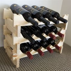 Vinrack Wooden Wine Rack 12 Bottle - Natural Pine. Height 352mm x width 481mm x depth 230mm. GBP24.00