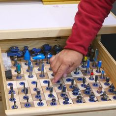 Holds both 1/4'' and 1/2'' shanks snugly enough for either horizontal or vertical storage! #CreateWithConfidence #RouterBit #StorageInserts #ShopStorage #ShopOrganization Vertical Storage, Workshop Organization, Shop Storage, Router Bits, Woodworking Tools, Diy Ideas, Hold On, Gadgets, Garage