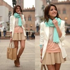 Love the bright colored scarf with neutral colors.