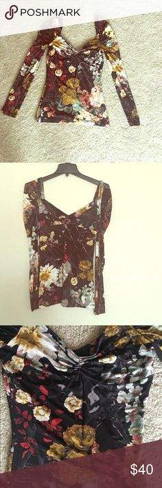 Just Cavalli long sleeve off shoulder  top Beautiful floral long sleeve stretchy off the shoulders bodycon top by Just Cavalli. Made in Italy. Size 42 or Fits a US size 6/ Small Just Cavalli Tops Tees - Long Sleeve