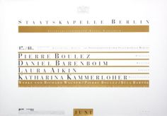 Original Vintage Poster Boulez Barenboim Opera Berlin | eBay