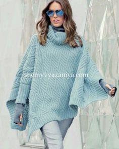 Пончо-пуловер узором ромбы с косами Размер: один размер http://shemyvyazaniya.shemyuzorov.com/page/poncho-pulover-uzorom-romby-s-kosami