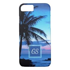 #initial - #Custom Tropical Island Beach Pink Blue Sunset iPhone 7 Case