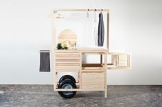 COS MOBILE POP-UP STORE IN MARSEILLE To celebrate Marseille being named this year's European Capital of Culture, we have created a mobile pop-up store that will be placed in the city's centre for one week. Designed by chmara.rosinke, it is made from pine treated with orange and linseed oil, combining functionality and clean lines to complement the hand-chosen selection of garments on display.