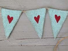 Turquoise and red hearts.