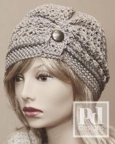 Ladie's Ruched Lace Beanie with Button Tab Crochet PDF Pattern. Crochet Scarves, Crochet Clothes, Crochet Beanie, Knitted Hats, Crochet Turban, Crochet Crafts, Crochet Projects, Love Crochet, Knit Crochet