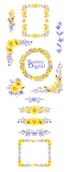 Blue autumn Frames Bouquets Wreath Seamless border Watercolor clipart Hand painted Foliage Digital leaves Wedding diy Printable Flowers by SunnyDigital on Etsy