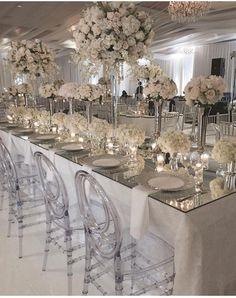 12/05/15 All white wedding reception! #itsmydangwedding #wedding #flowers #reception #whitetie #theknot #whitewedding