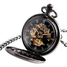 Vintage Automatic Mechanical Pocket Watch Men Hollow Exquisite Chain Smooth Case Pendant Watches Mens Retro Black Hour Clock