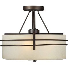 Burton 3 Light Ceiling Antique Bronze  Incandescent Semi Flush Mount