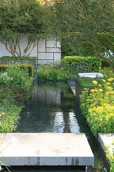 Marcus Barnett for Daily Telegraph garden Modern Planting, Modern Landscaping, Backyard Landscaping, Garden Canopy, Garden Pool, Water Garden, Pond Design, Modern Garden Design, Landscape Design