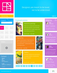 This website has good use of simple coloured blocks to create a versatile website layout / design. It using chunking body copy to section off different segments of the website