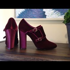 """New TORY BURCH CARLEY BOOTIE, Burgundy, 8.5M Beautiful new pair of Carley Booties in Burgundy velvet, 4.25"""" heel covered in matchung burgundy satin. Size 8.5M.  Includes the Tory Burch dust bag.  Originally $350. Tory Burch Shoes Ankle Boots & Booties"""