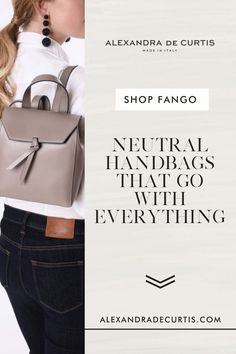 Are you looking for a versatile handbag colour that isn't black? Fango is an easy neutral. It's not quite in the brown family but not in the grey either. Falling in-between the two, fango is both functional and stylish. Subscribe and get 10% off your first order: www.alexandradecurtis.com/join Tan Leather Handbags, Italian Leather Handbags, Designer Leather Handbags, Brown Leather Handbags, Leather Backpacks, How To Make Handbags, New Fashion Trends, Classic Leather, Leather Design
