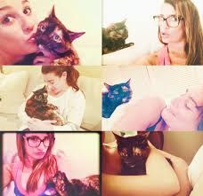 Lea Michele and her cat Sheila