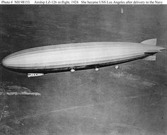 Airship LZ-126 In flight, probably over the eastern U.S. after her flight across the Atlantic from Germany, 15 October 1924. Following delivery to the U.S. Navy, she became USS Los Angeles (ZR-1).