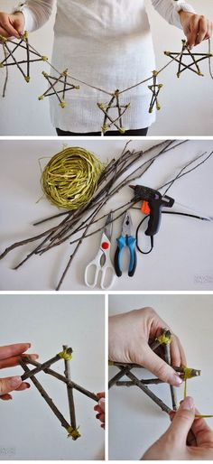 Make a Scandinavian Star Decoration with Twigs | Click for 28 Easy DIY Christmas Decor Ideas on a Budget | Handmade Christmas Decorations Ideas