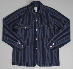POST OVERALLS: Engineer's Jacket, Midnight Stripe Denim