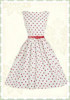 e91f440bd0ee Lindy Bop 50er Jahre Rockabilly Petticoat Punkte Kleid - Audrey - Weiß  Outfits 60er
