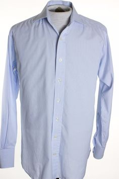 Robert Talbott Bespoke Mens 15.5 x 35 Blue Stripe Button Up LS Dress Shirt #RobertTalbott #ButtonFront