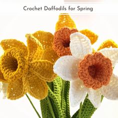 Crochet Daffodils Patterns are here for all spring lovers to enjoy! Is it any wonder that daffodils have inspired William Wordsworth? They are beautiful, evocative of spring, and quite unmistakable. Let them inspire you as well. They translate into crochet stitches very easily and can be turned just about into any form of crochet decoration or item. #crochetflower #crochetdaffodil #crochetdecor #crochetflowers #freecrochetpattern #crochetpattern Yarn Projects, Knitting Projects, Projects To Try, Butterfly Flowers, Butterflies, Crochet Stitches, Crochet Patterns, William Wordsworth, Crochet Decoration