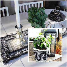 A Løper eller kurv i grått og svart Table Decorations, Plants, Furniture, Design, Home Decor, Colors, Decoration Home, Room Decor