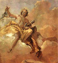 """Giovanni Battista Tiepolo """"Apollo and Diana"""" fresco 1757 (detail) Villa Valmarana, Vicenza. image: Wikipedia"""