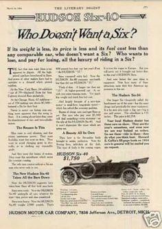 "Hudson Six-40 Car Ad ""Who Dosen't Want... (1914)"