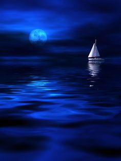 Sailboat on the water in deep blue sea with reflecions of Moonlight Shoot The Moon, Moon Pictures, Beautiful Moon, Blue Wallpapers, Blue Aesthetic, Blue Moon, Electric Blue, Night Skies, Midnight Blue