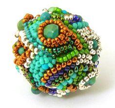 Crazy Quilt Beaded Bead by Sharri Moroshok - OOAK peacock cobalt blue emerald green turquoise