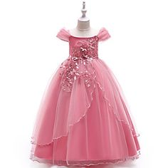 Sequined Floral Beaded Sheer Illusion Sleeves Fit & Flare Flower Girl Dress Princess Evening Dress with Overlay Tulle Skirt for Costume Ball Toddler Flower Girl Dresses, Princess Flower Girl Dresses, Princess Dress Kids, Flower Dresses, Princess Tutu, Toddler Dress, Girls Dresses Online, Party Dresses Online, Dresses For Kids