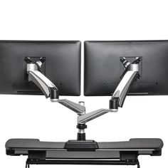 Vari Dual-Monitor Arm - Full-Motion Spring w/ 360 Degree Articulation - Easy Height Adjustment Dual Monitor, Monitor Stand, Desk Riser, Electric Standing Desk, Amazon Electronics, Adjustable Height Desk, Laptop Stand, Office Makeover, Desk Accessories