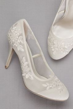ee35450855d Round-Toe Mesh Pumps with Corded Lace Appliques ADLEY Wedding Pumps