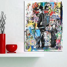 Banksy Printed Canvas Painting - Graffiti Art Chaplin - Unique Abstract Modern Wall Art Home Decor - Unframed Living Room Canvas Prints, Wall Art Prints, Poster Prints, Graffiti Art, Street Art, Culture Pop, Bright Art, Art Graphique, Modern Wall Art