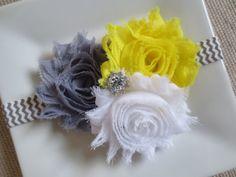 yellow and gray baby headband yellow headband by hartsandflowers, $7.95