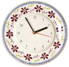 Kitchen Clock Clematis Irish Pottery, Kitchen Clocks, Pottery Making, Clematis, Utensils, Flower Art, Wedding Gifts, Ireland, Mosaic