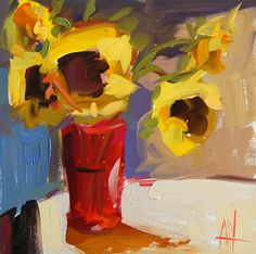Sunflowers on Table original floral still life oil painting by Angela Moulton 8 x 8 inch on panel prattcreekart