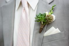 Succulent boutonniere | Denver Botanic Gardens at York Street Wedding : Blush and Sage | Frances Photography | Flowers:  Plum Sage | Planner: Cloud 9