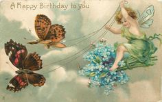winged cherub in green robe riding bunch of forget me nots, two butterflies pulling to left