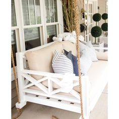 The Westhaven Bed Swing - Painted Fox Home Porches, Swing Painting, Painted Fox Home, Hanging Beds, Hanging Chairs, Oak Beds, Bed Cushions, Bed Mattress, Bed Design