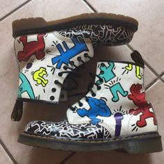 dr martens 1461 pw tan, Vintage Doc Martens Hand Painted Keith Haring Combat Boots Men's 10 Ooak, dr martens clarissa sandals pink Fantastic savings Pretty Clothes, Pretty Outfits, Cute Outfits, Dr. Martens, Diy Fashion, Fashion Boots, Paint Leather, Dilly Dilly, Fresh Kicks