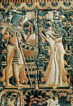 Tutankhamun and his wife in a garden (1370-52 BC).